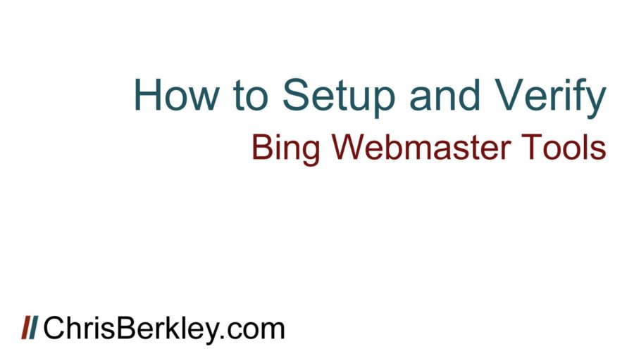 how to setup verify bing webmaster tools