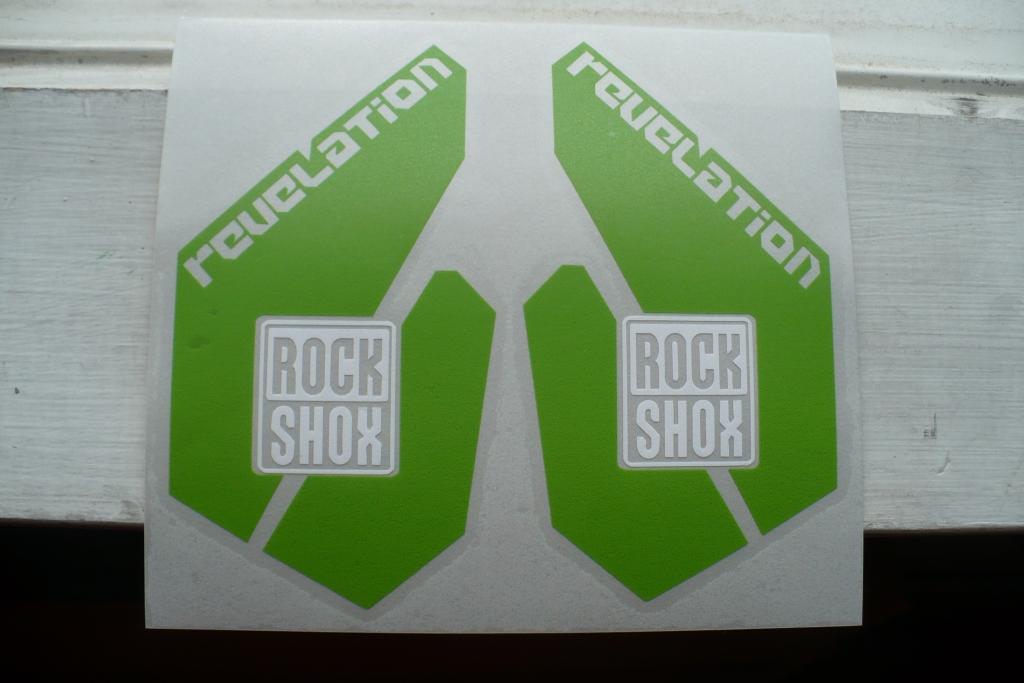 Custom green vinyl stickers for Rockshox Revelation fork