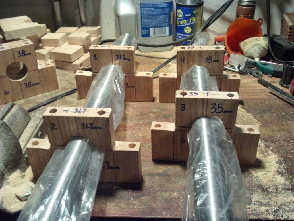 Tube blocks for homemade frame jig.