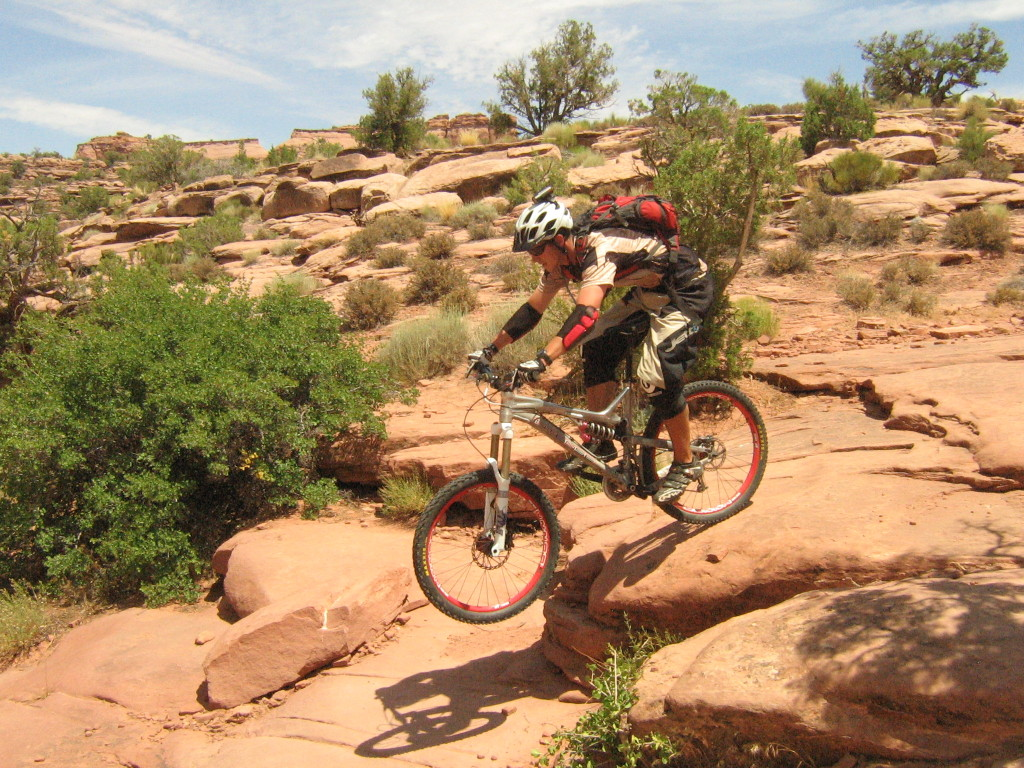John Elliott Dropping the Porcupine Rim rocks Moab Utah