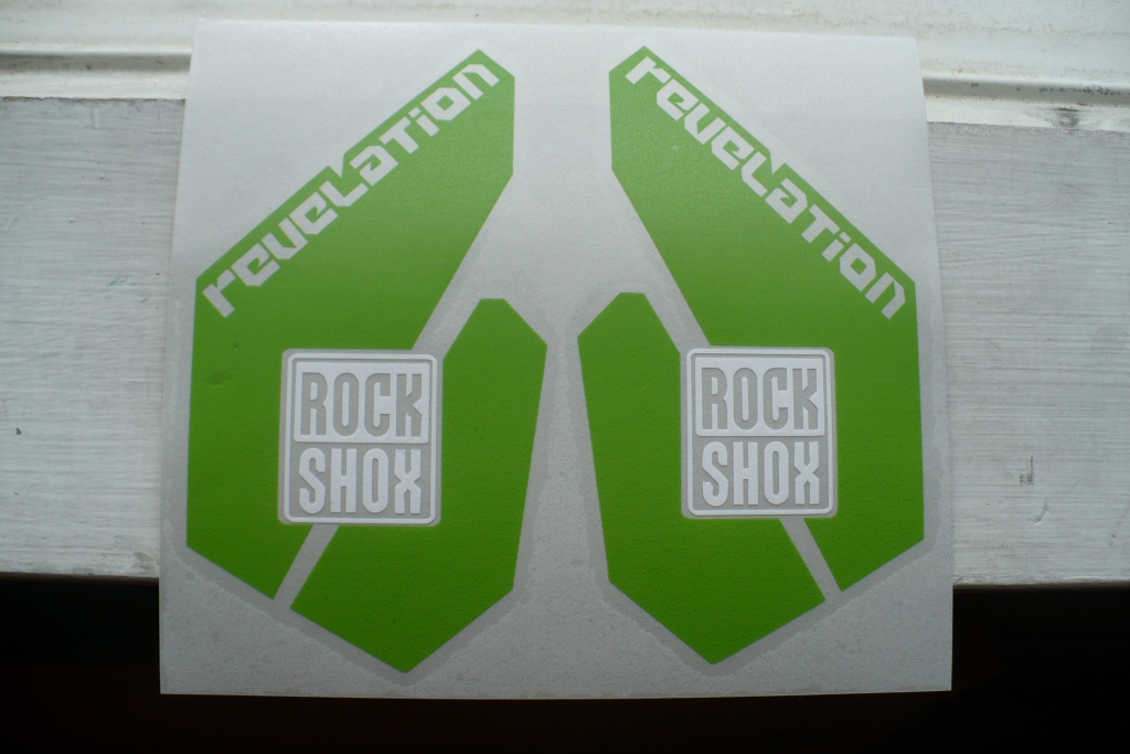 Custom green vinyl stickers for Rockshox Revelation fork