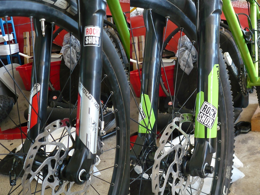New green vinyl fork decals