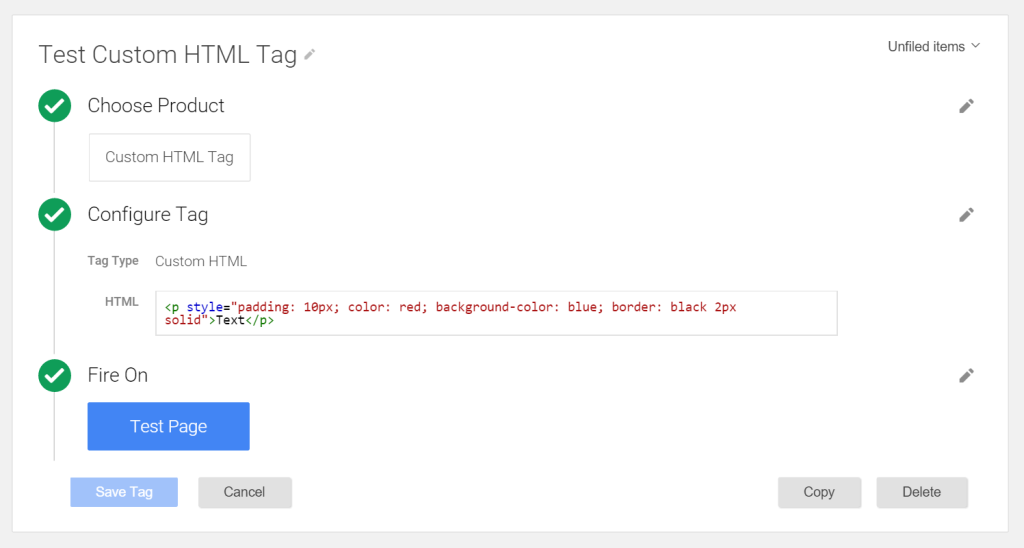custom html tag google tag manager