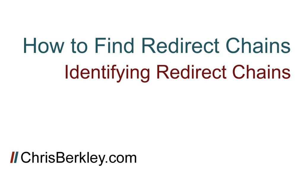 how to find redirect chains