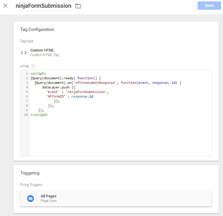 Ninja Forms Event Tracking with Google Tag Manager